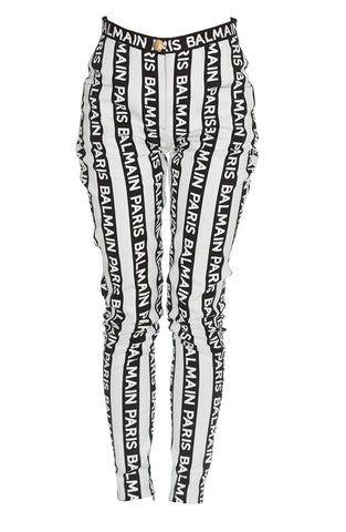 Balmain Logo Striped Trousers