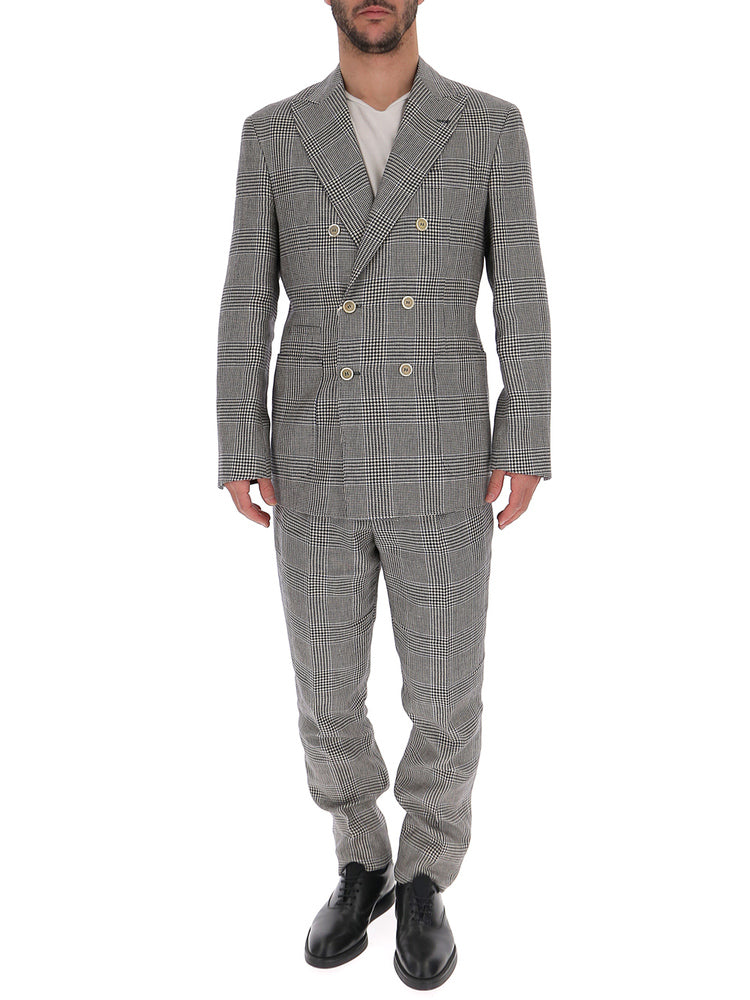 Brunello Cucinelli Checked Two Piece Suit In Grey