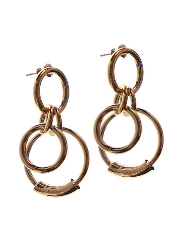 Chloé Logo Engraved Drop Ring Earrings