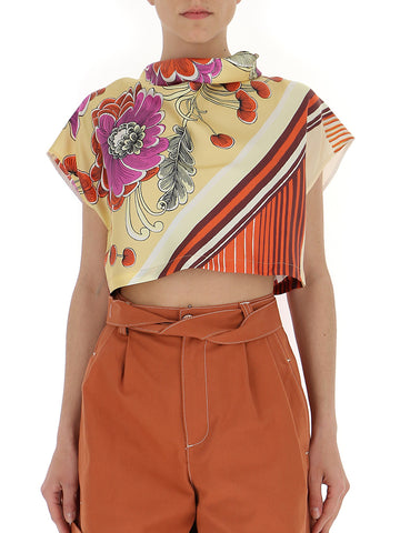 Chloé Mixed Print Crop Top