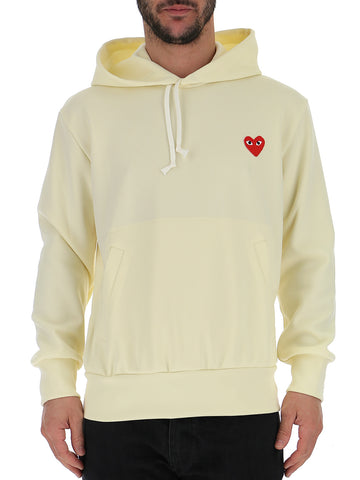 Comme Des GarÇons Play Heart Patch Hooded Sweatshirt