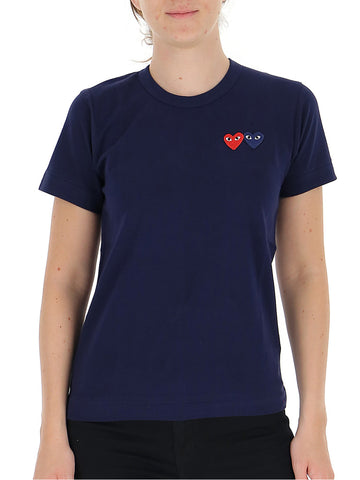 Comme Des GarÇons Play Embroidered Double Heart T-Shirt