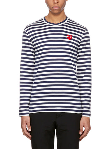 Comme Des Garçons Play Striped Long Sleeve T-Shirt