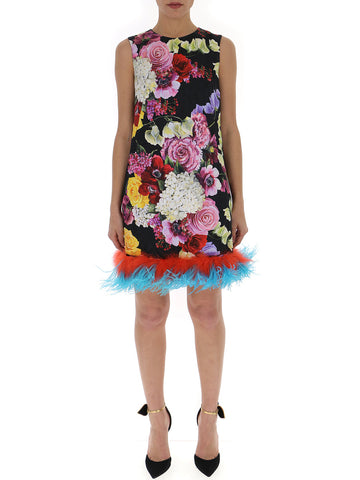 a91737198811c Dolce & Gabbana Floral Tulle Trimmed Dress
