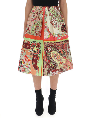 Etro Contrasting Panelled Paisley Skirt