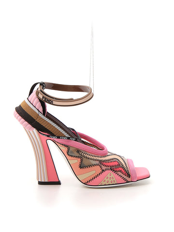 Fendi Contrasting Panelled Strappy Sandals