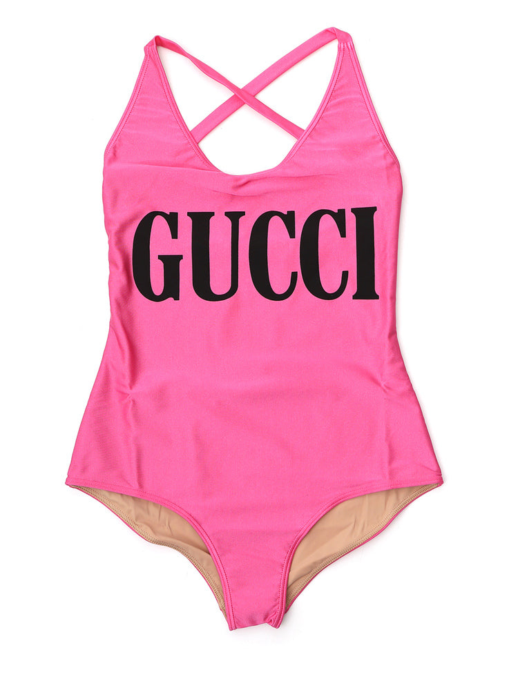 Gucci Logo Cross Back Swimsuit In Pink