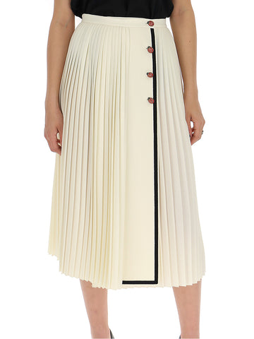 0f3d16958 Gucci Pleated Contrast Trim Skirt