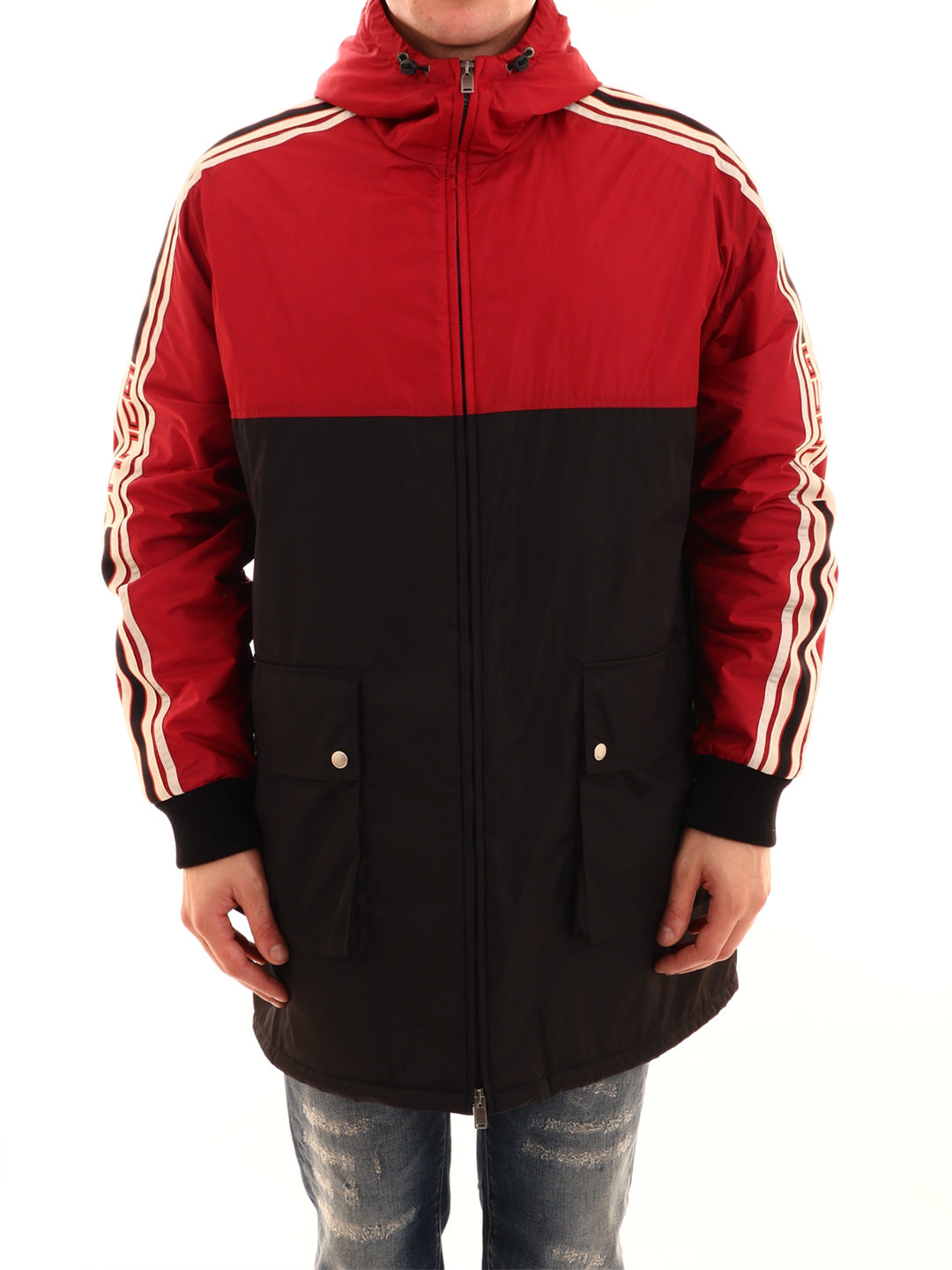 efb7b1676 Gucci Two-Tone Striped Shell Coat In Red | ModeSens