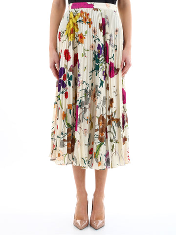 Gucci Floral Pleated Midi Skirt