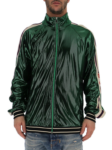 Gucci Laminated Sleeve Striped Jacket