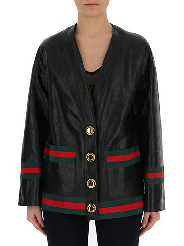 Gucci Striped Trim Lambskin Jacket