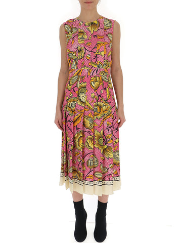 Gucci Watercolour Flowers Pleated Dress