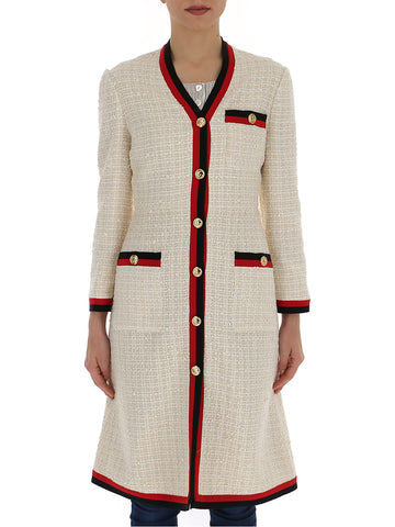 Gucci Contrast Trim Tweed Dress