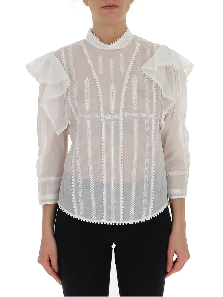 ead3ac0573 Isabel Marant Étoile Embroidered Ruffle Detail Blouse – Cettire