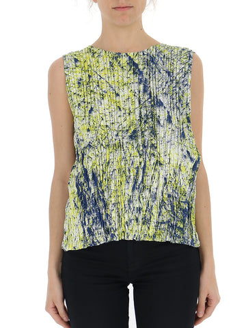 Issey Miyake Mixed Print Pleated Top
