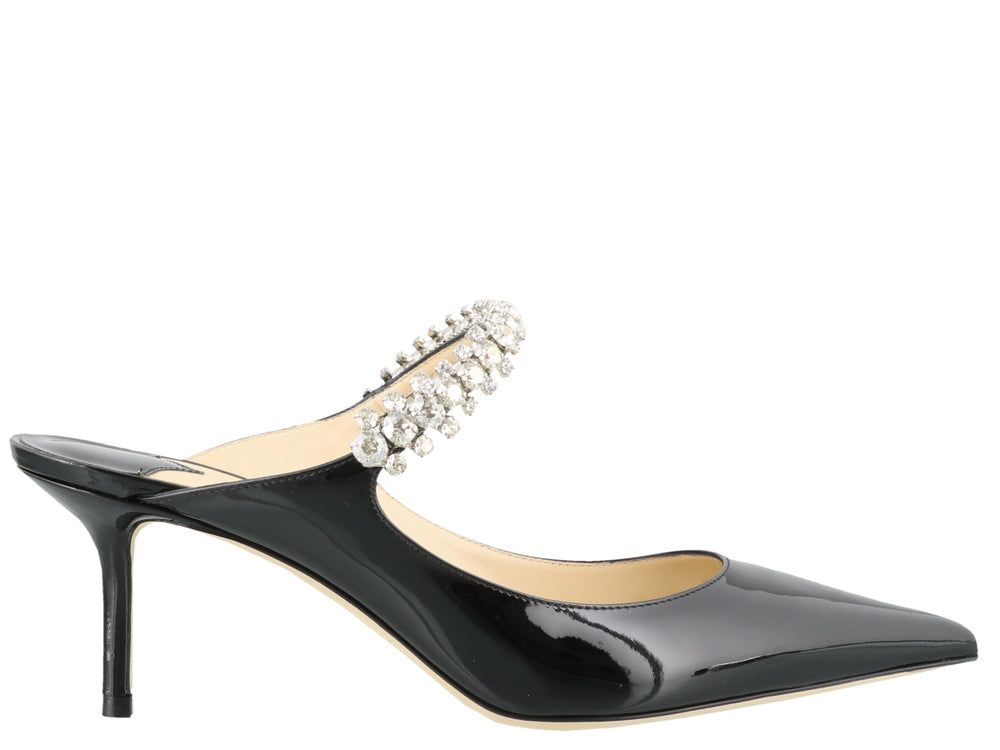 4bb57d7146a7 Jimmy Choo Bing 65 Black Patent Leather Mules With Crystal Strap ...