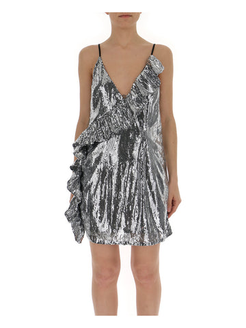 Laneus Sequins Ruffle Trim Slip Dress