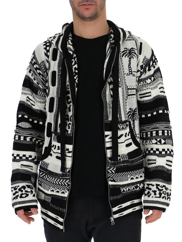 Laneus Contrasting Patterned Cardigan