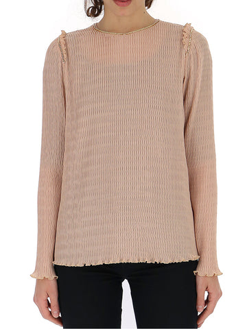 'S Max Mara Embellished Collar Pleated Blouse