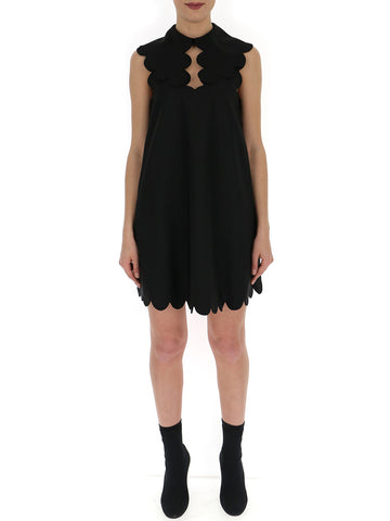 Mulberry Scalloped Detail Mini Dress