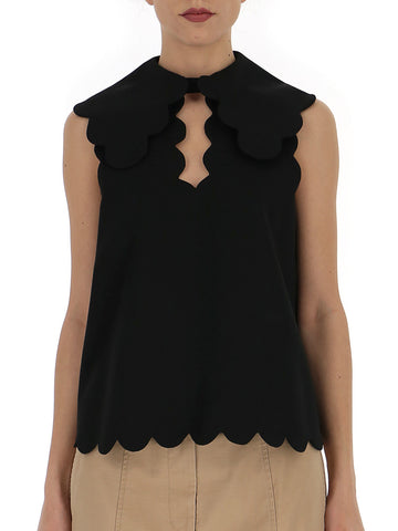 Mulberry Sleeveless Scallop Edge Blouse