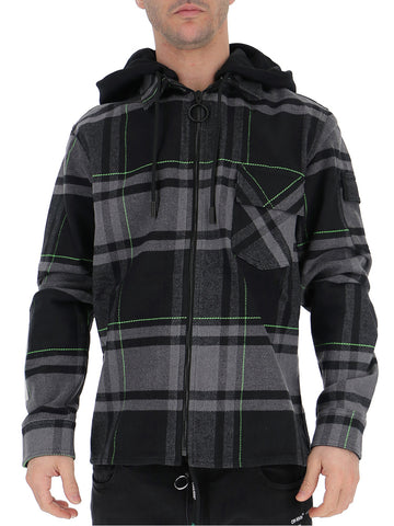Off-Off-White Checked Zipped Jacket