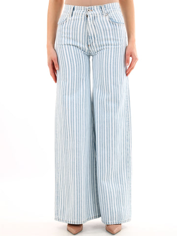 Off-White Striped Wide Leg Jeans