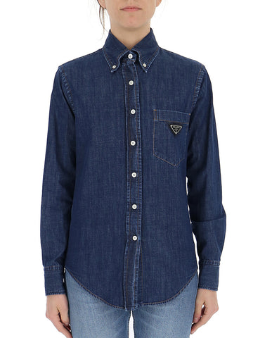 Prada Logo Patch Denim Shirt