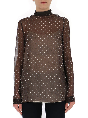 Prada Polka Dot Sheer Blouse