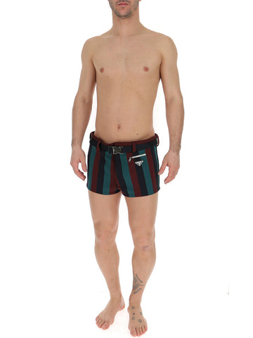 Prada Striped Belted Swim Shorts