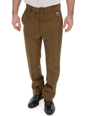 Prada Belted Straight Leg Trousers
