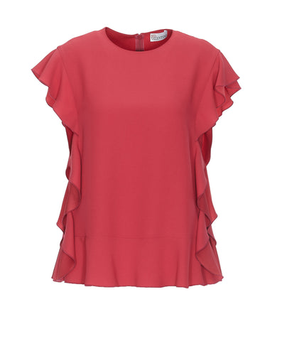 Red Valentino Frill Sleeve Top