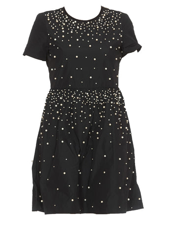 Red Valentino Pearl Embelleshed Taffeta Dress