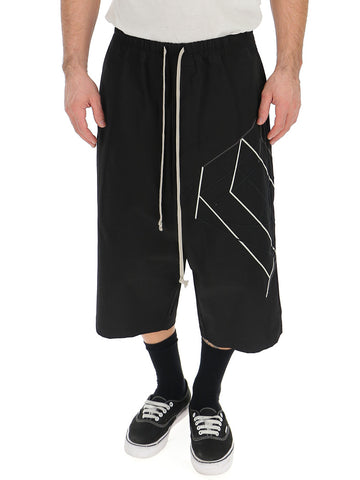 Rick Owens Geometric Print Long Shorts
