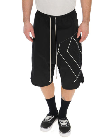 Rick Owens Geometric Print Drop Crotch Shorts