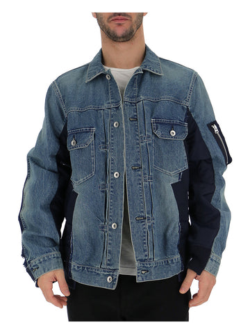Sacai Paneled Zip Detaial Denim Jacket