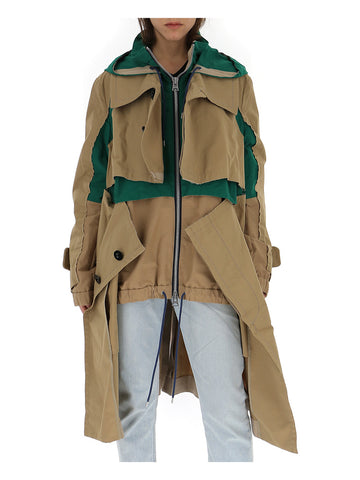 Sacai Boxy Hooded Trench Coat