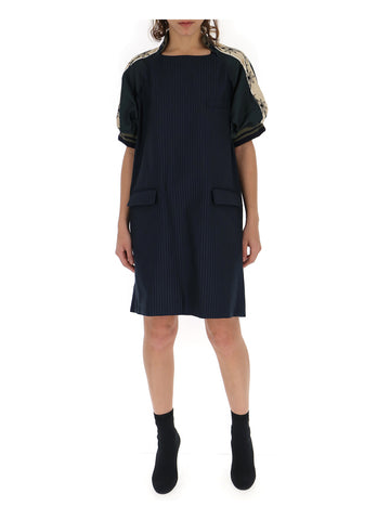 Sacai Pinstriped Contrast Sleeve Dress