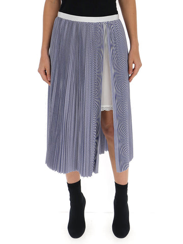 Sacai Pleated Side Slit Midi Skirt