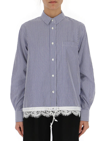 Sacai Striped Lace Panel Shirt