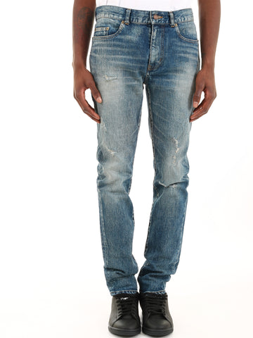 Saint Laurent Washed Distressed Jeans