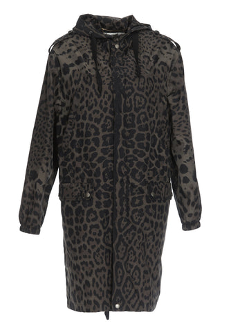 Saint Laurent Animal Print Hooded Coat