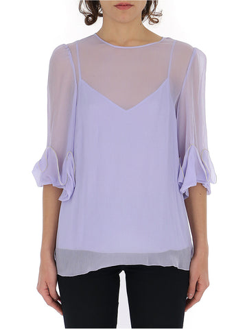 See By Chloé Sheer Ruffle Sleeve Hem Blouse