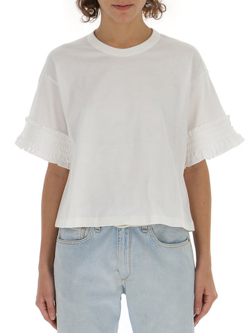 See By Chloé Ruffle Sleeve Cropped T-Shirt