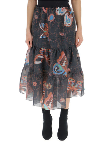 See By Chloé Patterned Midi Skirt