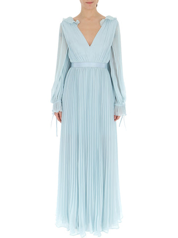 Self-Portrait Pleated Billow-Sleeve Gown