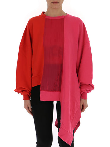 Unravel Project Contrasting Panelled Asymmetric Sweatshirt