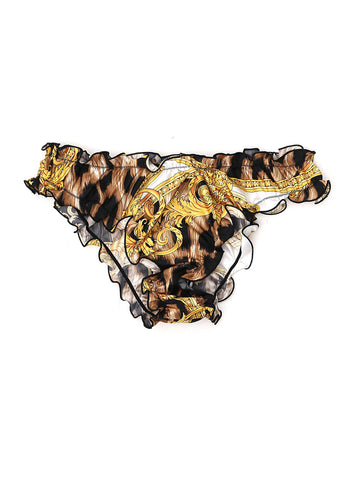 Versace Frilled Print Thong