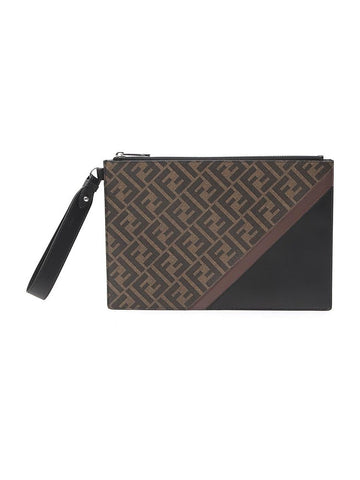 Fendi FF Monogram Diagonal Clutch Bag